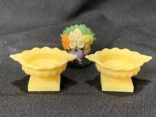 Fisher Price Loving Family Grand Mansion 2 Yellow Planters Urns with 1 Plant