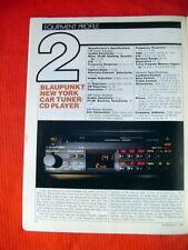 "Blaupunkt New York car tuner/CD player test review ""Audio"" magazine 7/91"