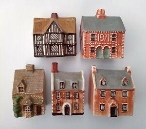 Set of 5 Vintage Mudlen End Studio Felsham Pottery Houses Cottages