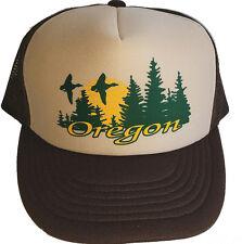 Oregon Sunset Brown Tan  Trees Snapback Mesh Trucker Hat Cap