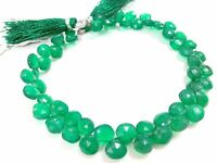 """Natural Green Onyx Heart 6-7mm Faceted, Gemstone Beads 8"""" Strand Onyx Heart Bead"""