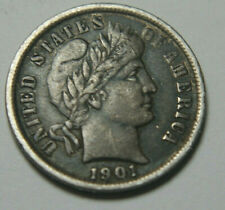 More details for u.s.a. america 1901 silver barber dime coin - nice tone