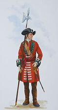 ORIG. MILITARY WATERCOLOUR PAINTING - QUEENS ROYAL REGIMENT (2ND FOOT) - 1703
