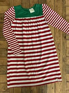 #15 Girl's Striped Knit Christmas Dress, Lolly Wolly Doodle, Sz: 10
