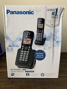 Panasonic KX-TGC352 Cordless Phone System Black 2 Handsets OPEN BOX! NEW!