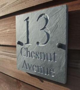 Engraved Natural Riven Slate House Door Sign Name Number Plaque