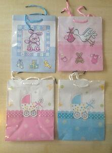 MEDIUM GLOSS Baby Shower Gift Bags Pink or Blue Boy Girl  Dif Designs UK SELLER