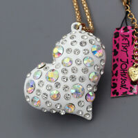 Betsey Johnson White Enamel Crystal Love Heart Pendant Sweater Chain Necklace