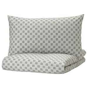 IKEA SILVERFRYLE King Size Duvet Cover & Pillowcases White/Grey