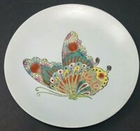 """Asian Ceramic Enamel 10 5/16"""" Decorator Plate With Metal Stand Very Good Plus Cd"""