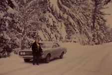 Woman Classic Car Stuck In Snow Vintage 1970's 35mm Slide C-18