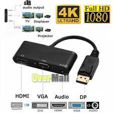 DisplayPort DP to HDMI DVI VGA + Audio USB Cable Adapter Converter For PC 1080P