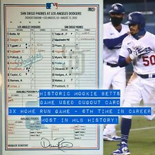 🏆 2020 MOOKIE BETTS GAME USED Dugout Lineup Card HISTORIC 6th 3xHR GAME 8/13/20