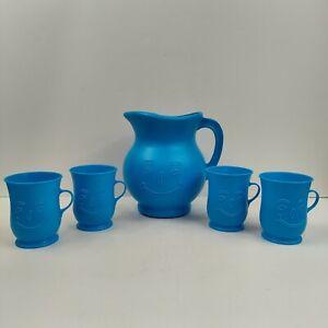 Vintage Kool Aid Pitcher With 4 Mugs, Blue Plastic