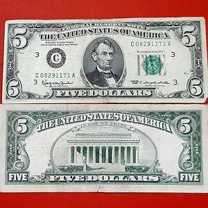 1963 $5 vintage Green Seal Bill