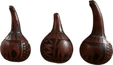 African Kenyan Tribal Crafts - 3 Decorative Carved Gourds