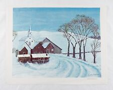 Vintage 1969 Dwight D. Eisenhower White Church in the Country Canvas Print