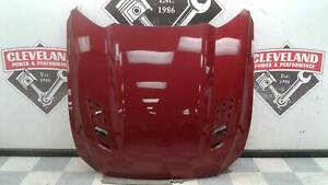 2015-2017 Ford Mustang GT OEM Hood Panel w/o Vents Scoops Red DAMAGED