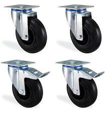 Lot roulettes pivotante & pivotante à freins caoutchouc noir 125mm charge 300kg