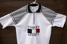 """""""Tommy Sports"""" Men's Polo Golf Shirt White Black Red Large Zip closure"""