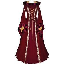 Vintage Renaissance Medieval Victorian Gothic Cosplay Party Dress Costume Hooded