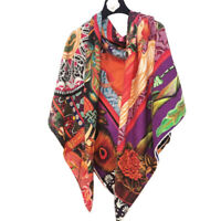 70% Cashmere 30% Silk Thin Scarf Double-sided Angle Print Shawl Big Stole 135cm