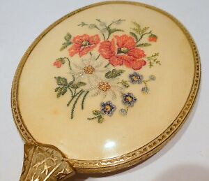 Vintage Petit Point Embroidered Dressing Table Mirror, Hand Held Mirror