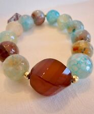 EBANO made in BARCELONA Faceted Natural Quartz Bead Bracelet Elastic Stretch