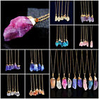 Fashion Natural Crystal Quartz Stone Gemstone Pendant Unisex Irregular Necklace