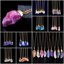 Fashion Natural Crystal Quartz Stone Gemstone Pendant Unisex Irregular Necklace