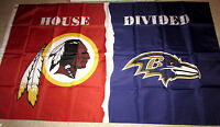 WASHINGTON REDSKINS vs BALTIMORE RAVENS 3x5 FEET FLAG BANNER HOUSE DIVIDED NFL