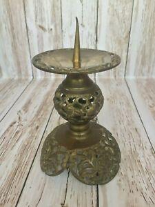 """Vintage Candle Holder Bronze Copper 5"""" with flower design"""