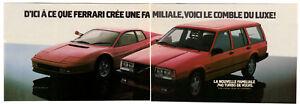 1986 VOLVO 740 Turbo Vintage Original 2 page Print AD Red car Ferrari Testarossa