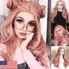 Stylish Women Long Pink Hair Full Wig SyntheticParty Cosplay Costume + Wig Cap
