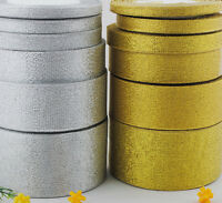 """25Yards/roll Metallic Glitter Ribbon 2 Colors From 1/4"""" to 2"""""""