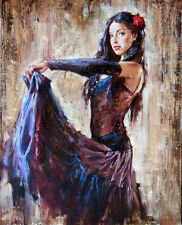 Huge Oil painting beautiful young girl dancer in nice dress free shipping cost