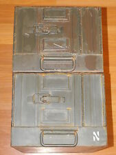 PAIR VTG GERMANY? METAL MILITARY LOCKER AMMO SHIPPING CRATE FILE CABINET LOT