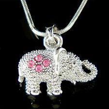 w Swarovski Crystal ~Lucky 3D Pink Elephant Indian Wisdom Pendant Charm Necklace