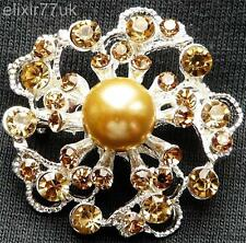 NEW SILVER FLOWER BROWN CRYSTAL FAUX PEARL BROOCH UK WEDDING PARTY GIFT BROACH