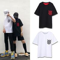 Checkerboard Black White Plaid Patchwork T-shirt Harajuku Short Sleeve Tee Tops