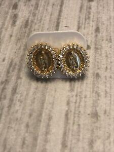Gold Plated Virgin Guadalupe Earrings Rhinestone