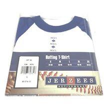 JERZEES Mens Raglan Shirt Ringer Tee Baseball Thin 50/50 Hipster Vintage Large