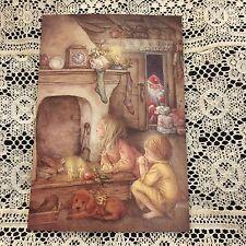Vintage Greeting Card Christmas Lisi Martin Santa Claus Girl