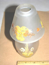 Vintage Tea Light Candle Holder, Real Pressed Flowers Glass & Metal Mini Lamp!