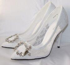 Zapatos de Novia Tacón en Blanco de Encaje Con Piedrecita 67150