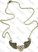 BIG PEARL LOVE HEART retro tattoo ANGEL WINGS NECKLACE vintage brass ROCKABILLY