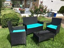 Patio Furniture Set 4 Pcs Outdoor Wicker Sofas Rattan Chair Wicker w/Cushions