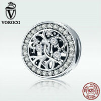 Voroco 925 Sterling Silver Life Tree Charm Bead For Women Bracelet Chain Jewelry