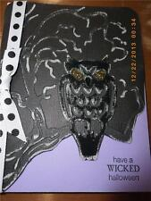 Handmade Halloween Card Sizzix Bats & Owl Set  656776 Embossed Ribbon Painted