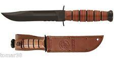 KA-BAR #1252 U.S.M.C. 3/4 SIZE COMBO EDGE FIGHTING UTILITY KNIFE w/ EGA SHEATH